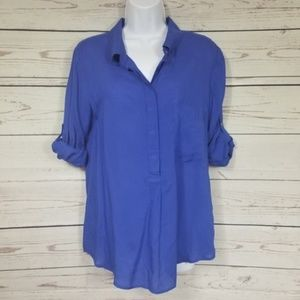 DALIA COLLECTION button tab sleeve blue blouse